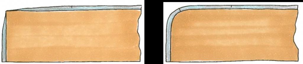 puhdistuslinja reunan pyöristys maalattu pinta